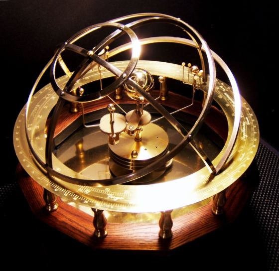 Grand Orrery with 9 planets in brass, stone and oak