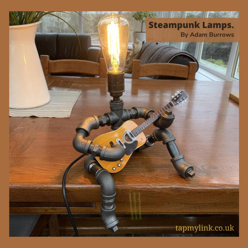 Steampunk style table lamp - guitar player feature photo