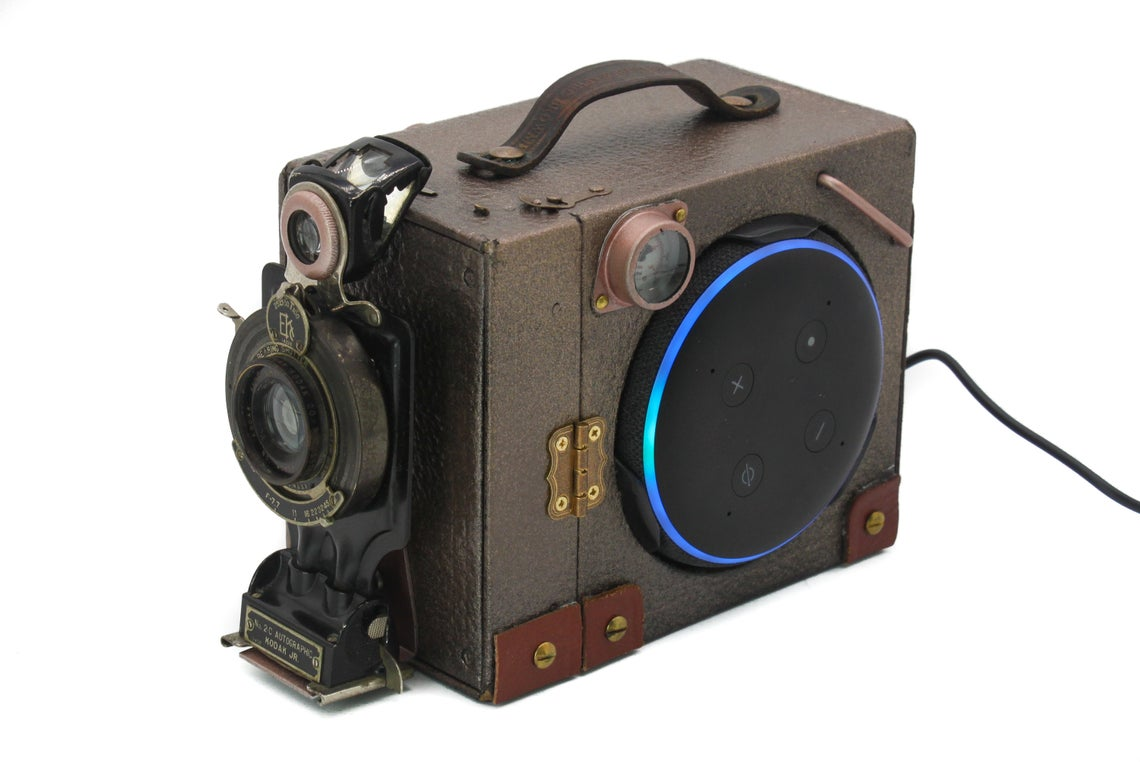 Steampunk Upcycled Kodak Brownie Box Camera Amazon Echo Dot Holder.
