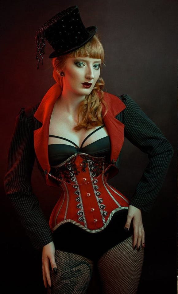 Red Black & White Striped Ringmaster Steel Boned Underbust Corset.