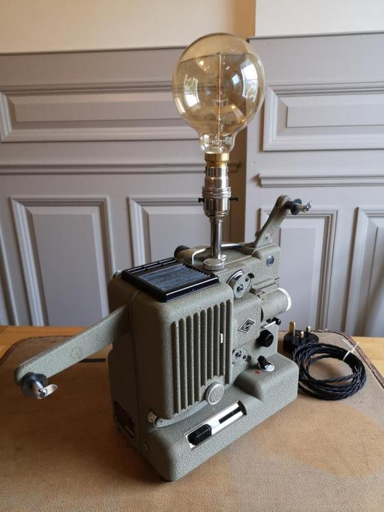 Industrial steampunk style Lamp With Upcycled, Vintage Eumig P8 Projector.