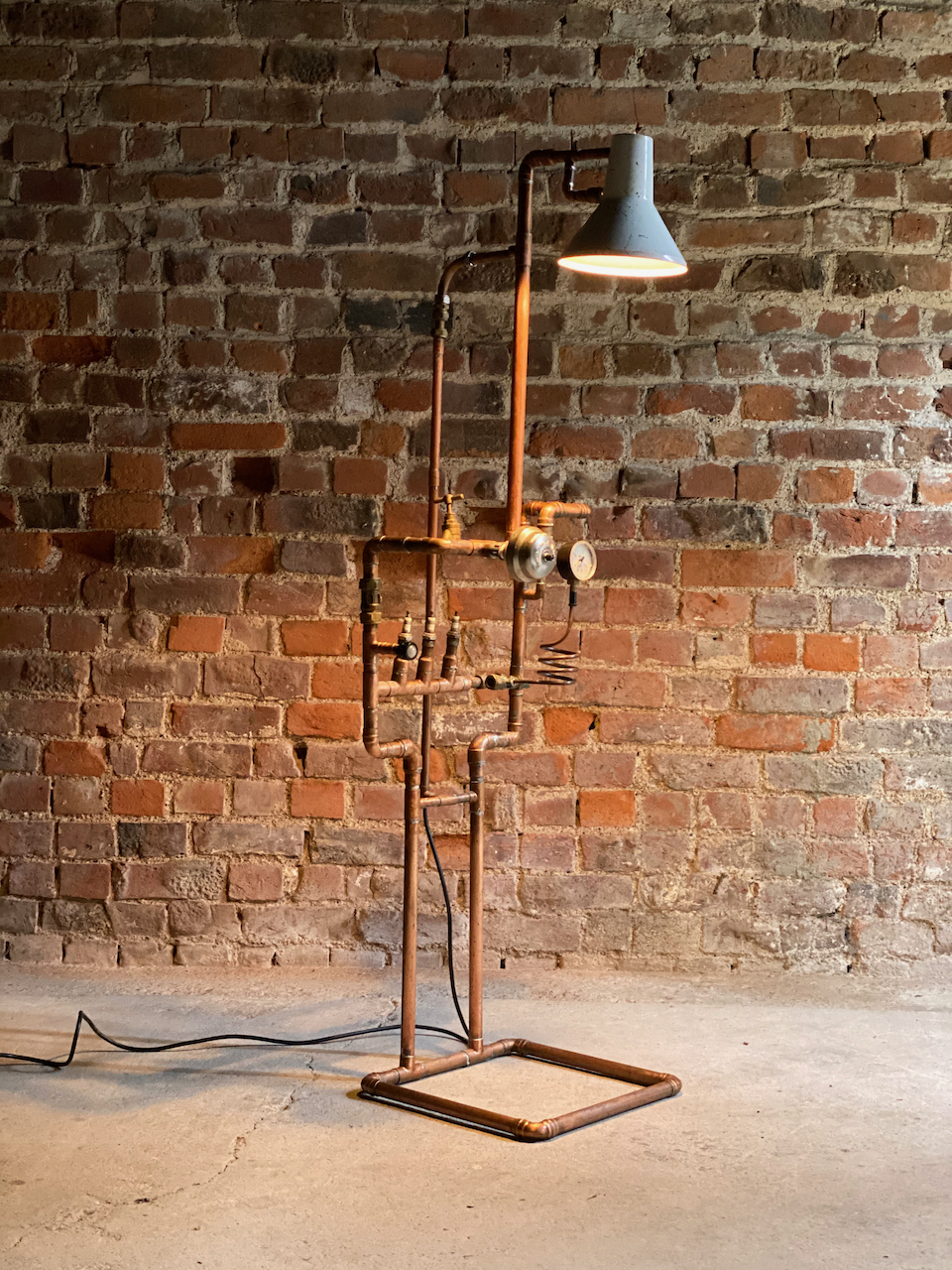 Industrial Steampunk Lamp Stand With Copper Piping & Gauges. Sold by Vinterior.