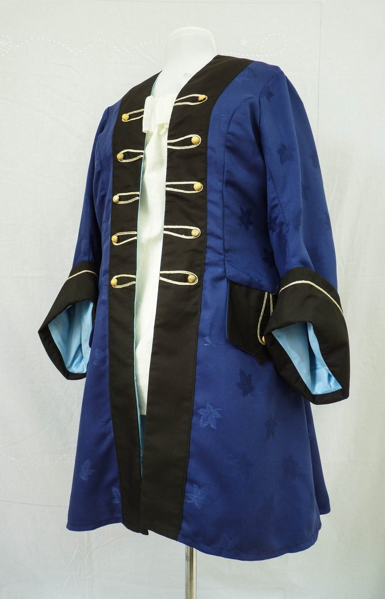 Ladies Royal Blue Steampunk Pirate Coat.Created by Luluna Clothing.