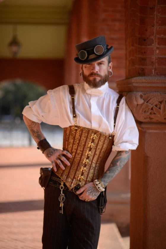 Gold Brocade Male Steampunk Corset. By Janes Corsets.