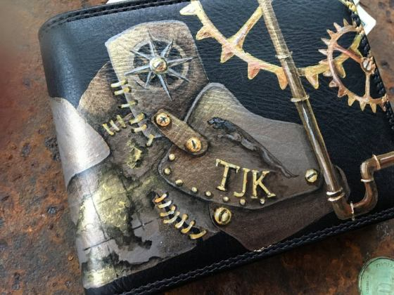 Steampunk wallet Personalized wallet men Hand painted leather. Created and sold by InGAartWork.