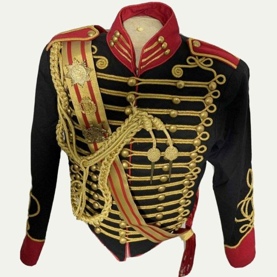 Men's Black Steampunk Ceremonial Hussar Officers Jacket with Aiguillette. Created by Royal Art UK.