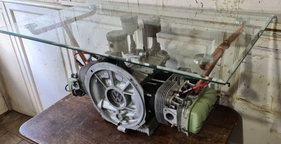 1959 Volkswagen VW Beetle Air-Cooled Engine Coffee Table. Created by Vintage VibesBy Gavin.