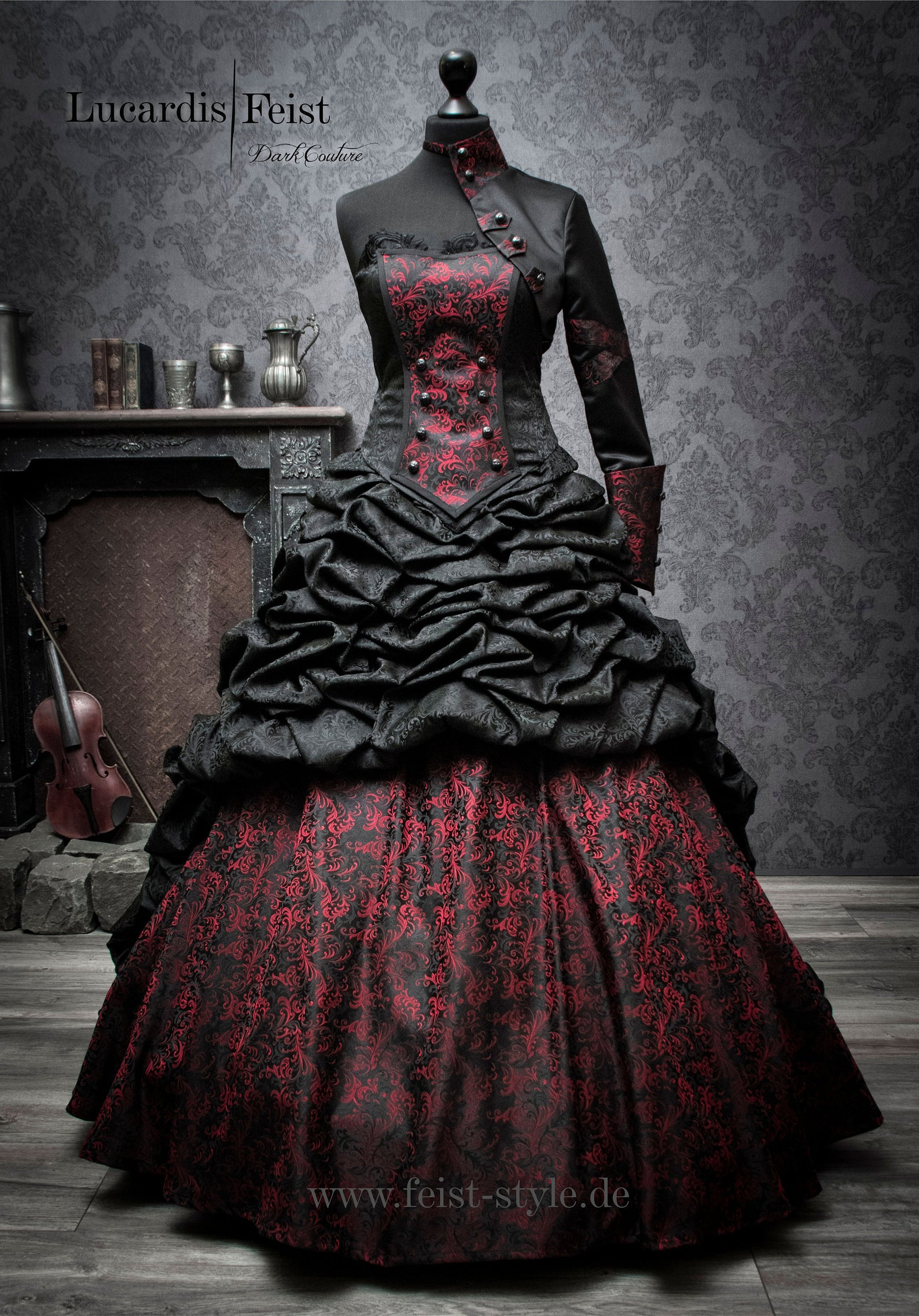 Exceptional Black Gothic Victorian Steampunk Wedding Dress. Created by Feist Style.