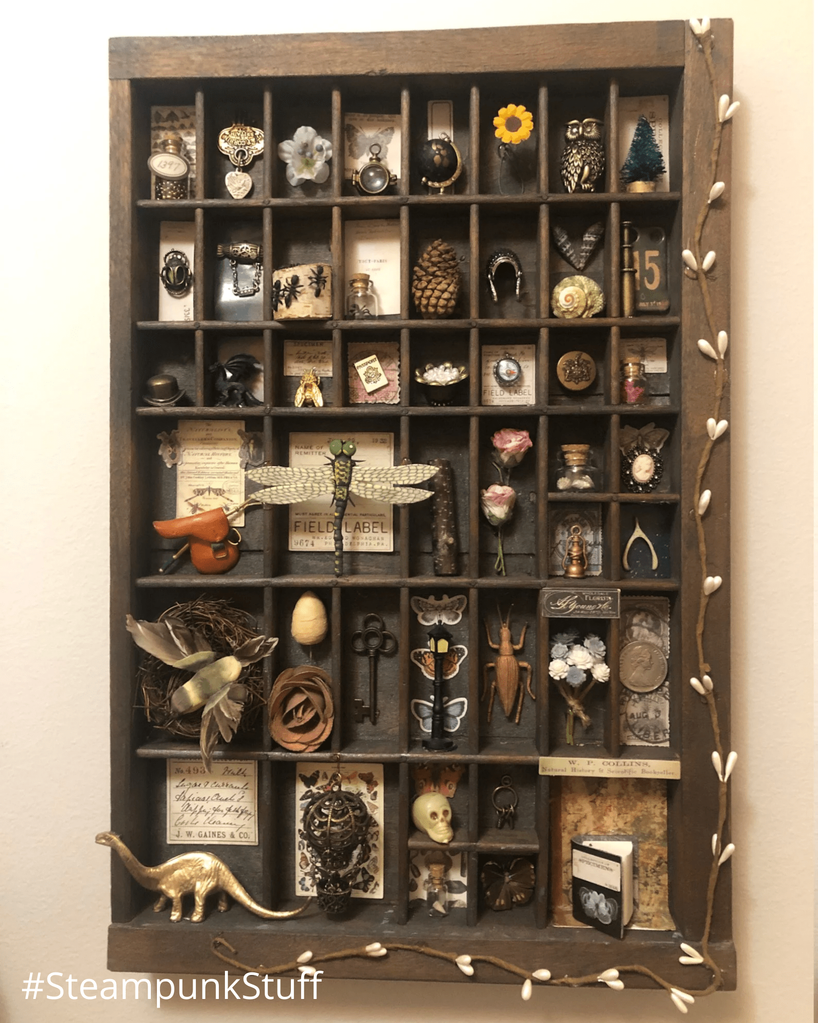 A collection of Curiosities in hanging case. Created and curated by MelsVintageCloset