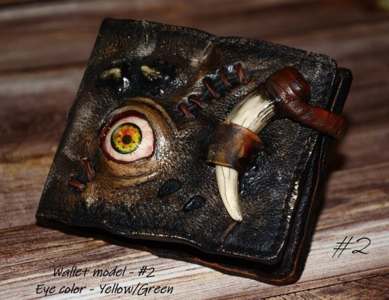 Zombie Eye Steampunk Leather Wallet.Created by FamilySkiners.