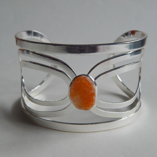 Single Set Golden Orange Bio-Sequin Silver Bangle