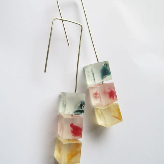 Traffic Light Rubix Structured Dangle Earrings