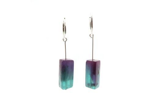 Turing Silver Earrings – Purple/Green Ombre