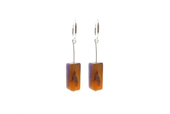 Turing Silver Earrings – Purple/Orange Ombre