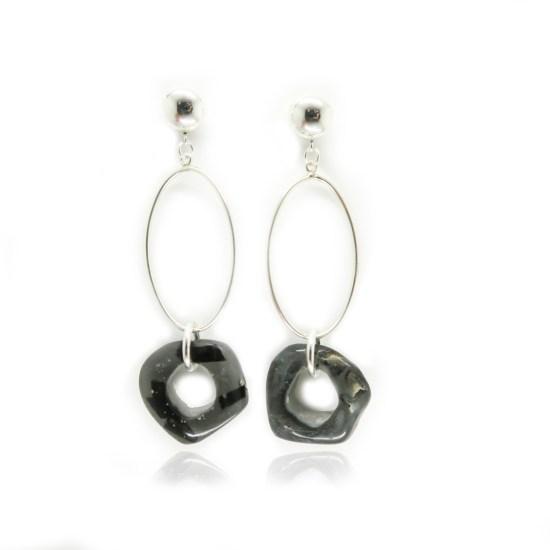 Carver Oval Earrings – Onyx/Silver