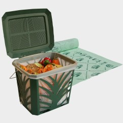 Kitchen Caddy Free Standing Island Vented Compost Bin Food Scraps Container Biobag Max Air 2 Ventilated