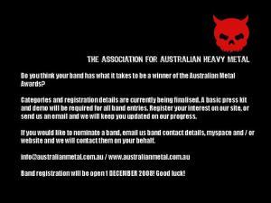 Australian Heavy Metal Awards – Registration opens on 1 December 2008