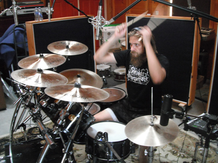 Woods of Ypres drummer in the studio 2011