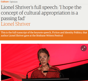 """Lionel Shriver's full speech: ""I hope the concept of cultural appropriation is a passing fad"""