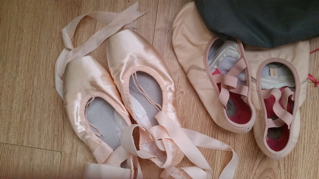 Demi-pointe shoes on the left, MDM ballet flats on the right.
