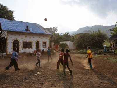 Students play soccer on the grounds of the Moka Wildlife Center on Bioko island in Equatorial Guinea.