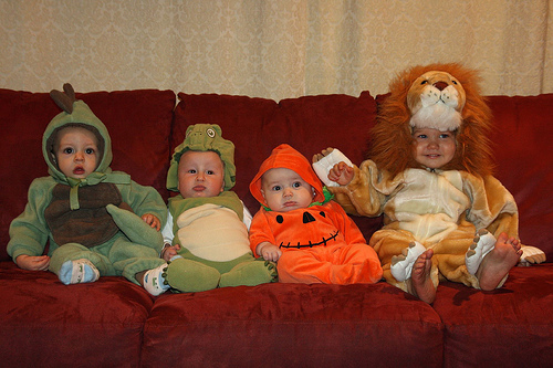 Babies in costumes.