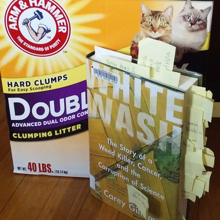 Carey Gilliam Whitewash, set against a box of kitty litter.