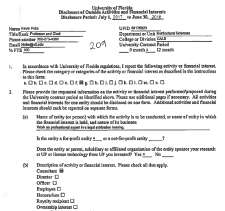 """Screenshot of Kevin Folta's disclosure form showing he checked """"consultant"""" as the type of work."""