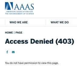 AAAS award announcement 403 error screenshot