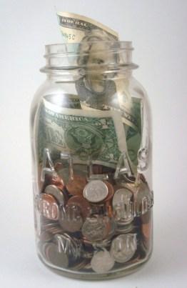 coin jar saving money budget