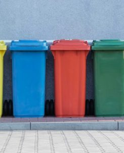recycling bins in color