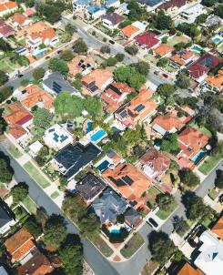 aerial view of neighborhood