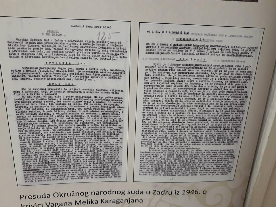"""Sadržaj sramotne presude: Karaganjan, """"otac biogradskog turizma"""", po završetku Drugog svjetskog rata u Biogradu osuđen na dugogodišnju robiju, prisilni rad u logoru na području Vrane, gubitak imovine i svih građanskih prava"""