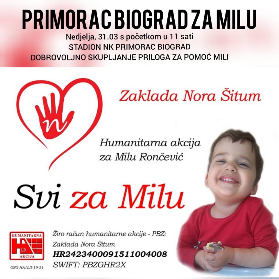 I PRIMORAC BIOGRAD ZA MILU: U nedjelju se na stadionu HNK Primorca prikuplja novac za pomoć oboljeloj djevojčici