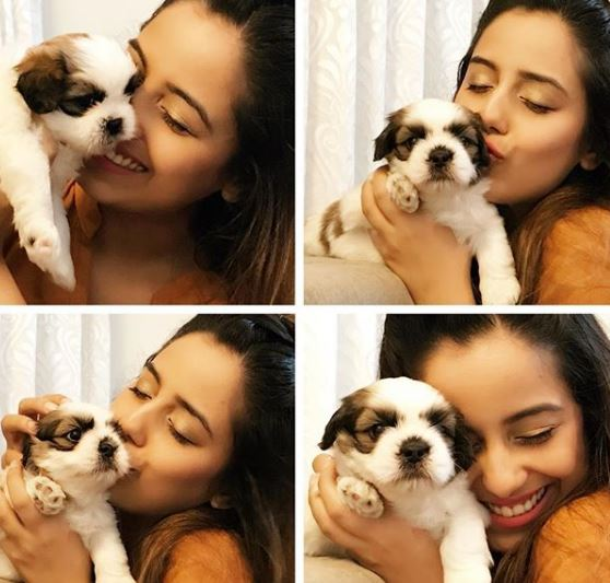 Srishty with puppies