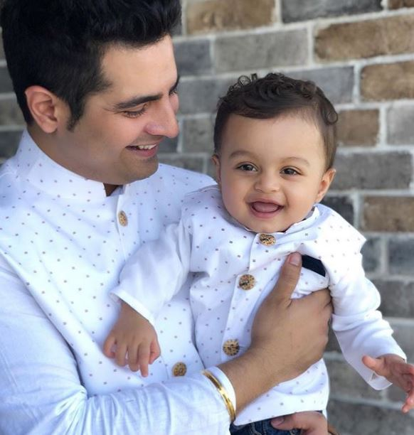 Karan Mehra with his son