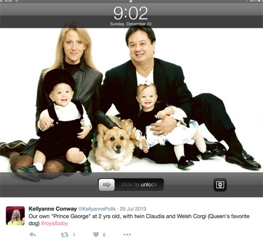 Kellyanne Conway with her husband George Conway III, daughter Claudia and son George wirh pet dog.