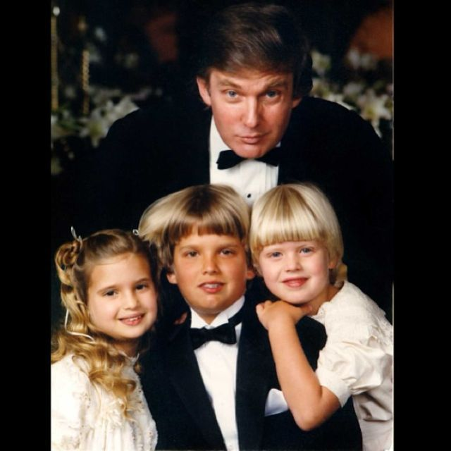 Donald Trump with his three younger kids from wife Ivana Trump.