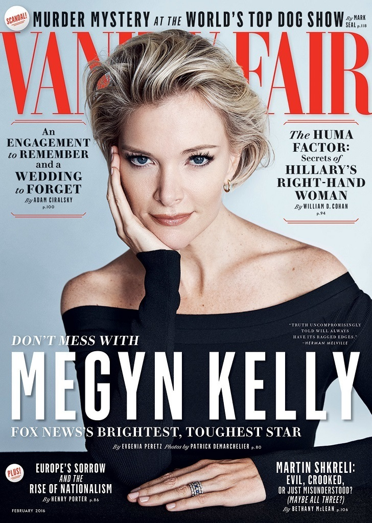 Donald Trump's arch rival form the media Megyn Kelly on the cover of Vanity fair magazine February, 2016 issue,