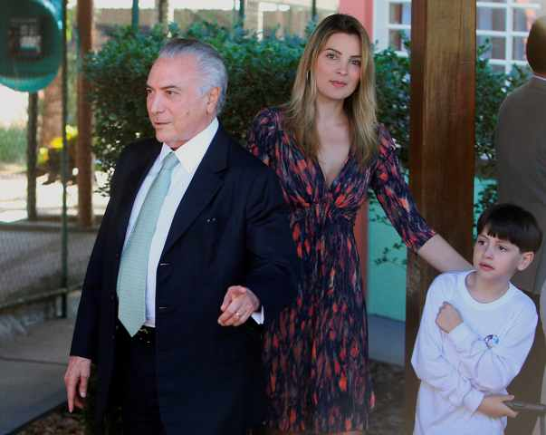 President Michael Temer with his 42 years younger wife Marcela and son.