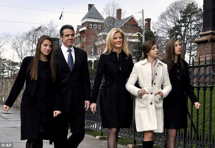 Cara Cuomo with her two sisters, father and his girlfriend Sandra Lee visiting Church. This proves that they have really good relationship with each other.