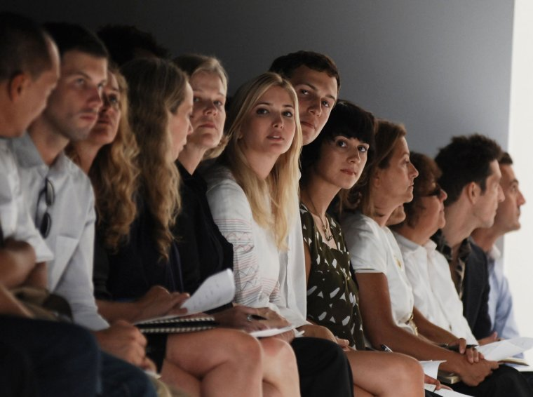 Ivanka Trump (6th L) and Jared Kurshner (6th R), owner of the New York Observer, attend the Narciso Rodriguez 2008 Fashion Show during the Mercedes-Benz Fashion Week Spring 2008 on September 9, 2007 in New York City.