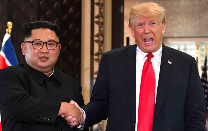 Kim Jong-un meets Donald Trump in North Korea- United States Summit in Singapore on June 12, 2018