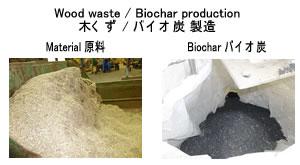 木くず 熱分解 バイオ炭製造前後 2018.1.5