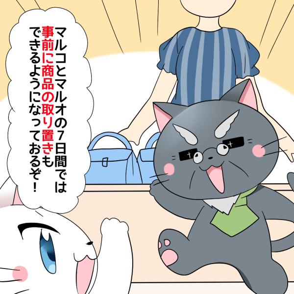 博士がマルイの中で 『マルコとマルオの7日間では事前に商品の取り置きもできるようになっておるぞ!』 と白猫に言っているイラスト
