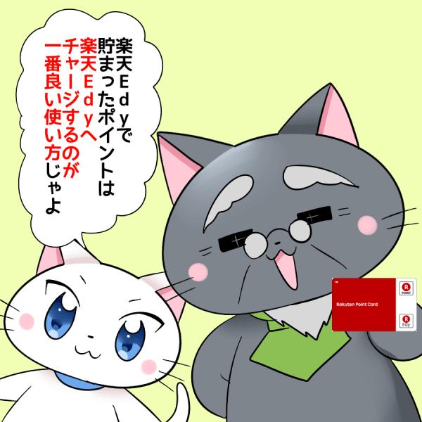 博士が楽天Edyカードを持ちながら、 『楽天Edyで貯まったポイントは楽天Edyへチャージするのが一番良い使い方じゃよ。』 と白猫に言っているイラスト