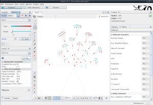 Gephi : coloration des noeuds en fonction de la valeur d'un de leur paramètre (contôles dans la partie supérieure gauche)