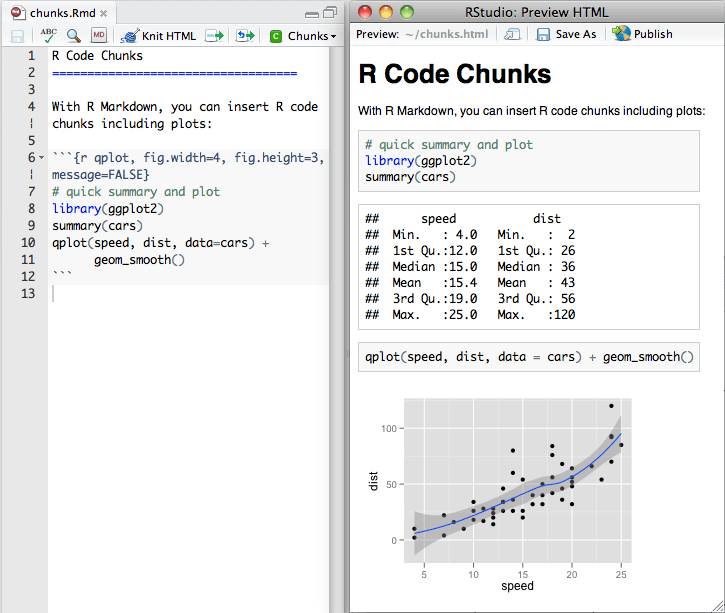 markdown chunk with preview in RStudio