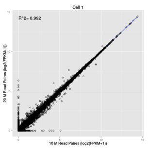 Consistence entre un séquençage à 20M reads vs un séquençage à 10M reads (données simulées, Isabelle Stévant, CC BY)