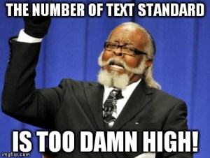 Le nombre de standards est beaucoup trop grand.